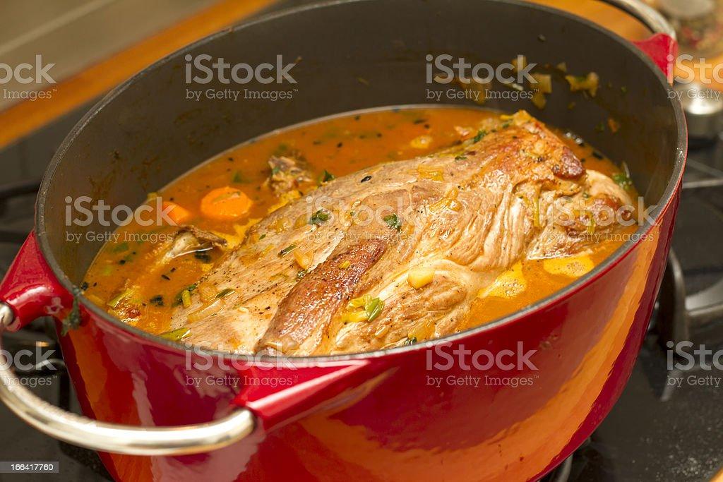 Roast pork in roasting pan royalty-free stock photo