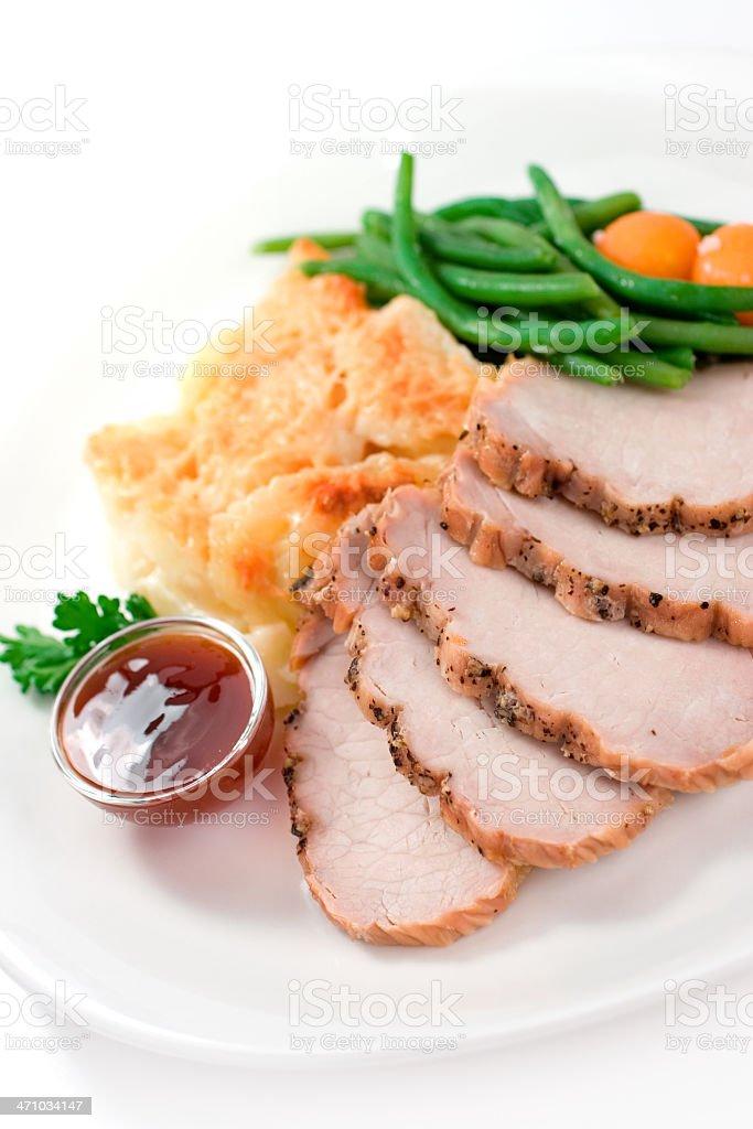 Roast Pork Loin Dinner royalty-free stock photo