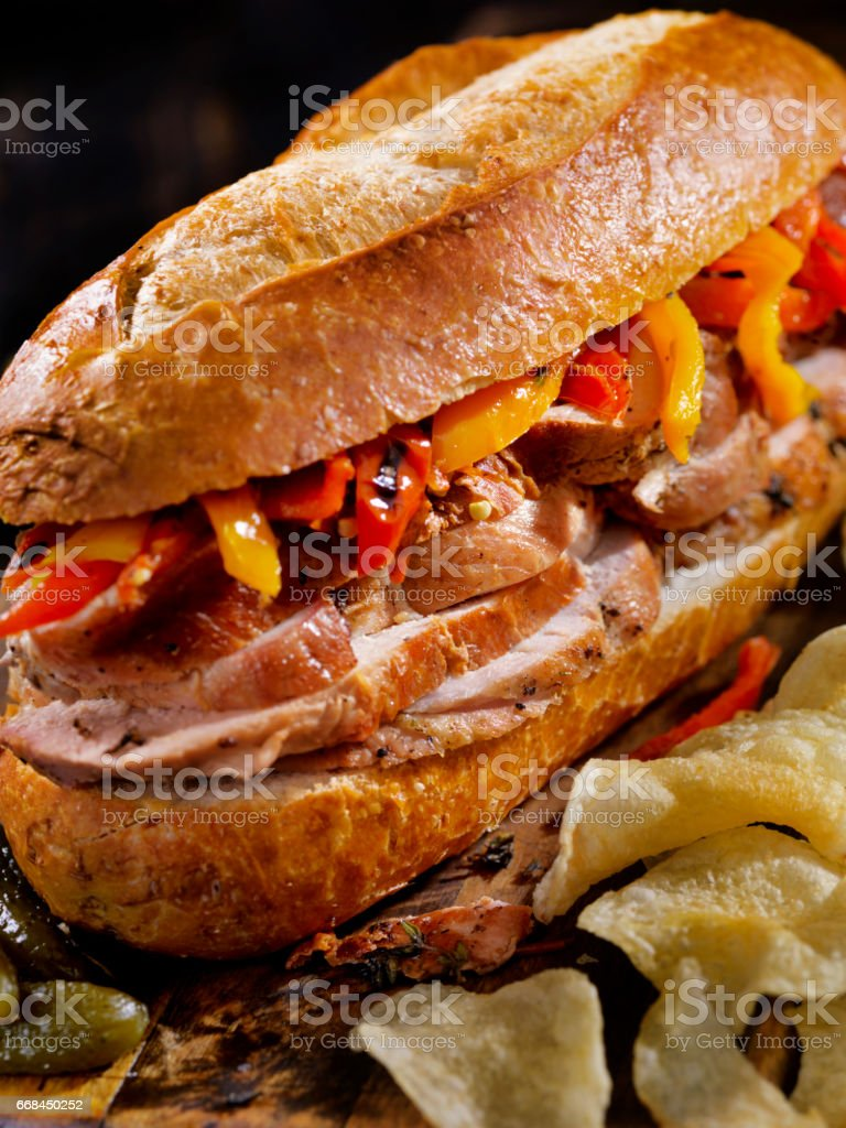 Roast Pork Sandwich with Roasted Peppers stock photo