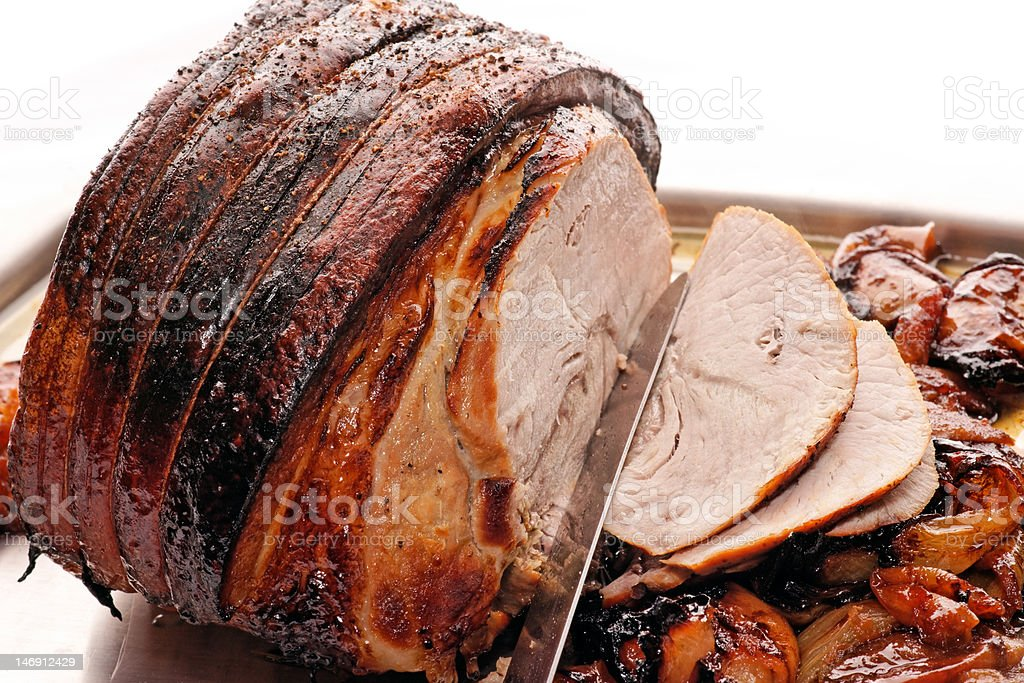 Roast Pork with apples and onion stock photo