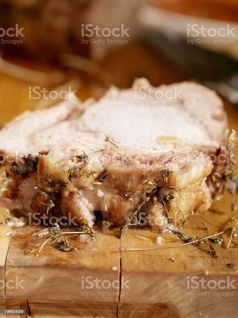 Roast Pork With Fresh Herbs royalty-free stock photo