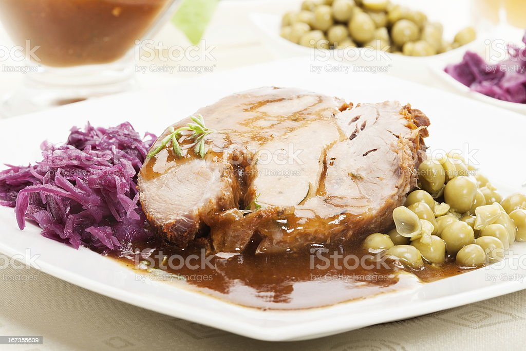Roast pork with sauce royalty-free stock photo