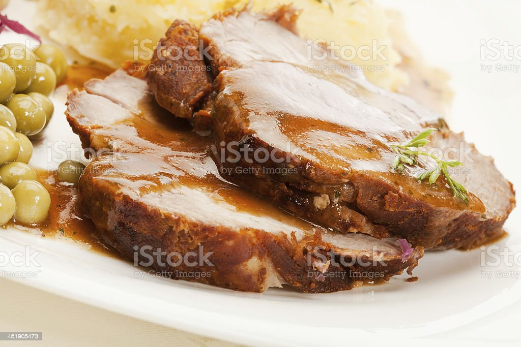 Roast pork with sauce stock photo