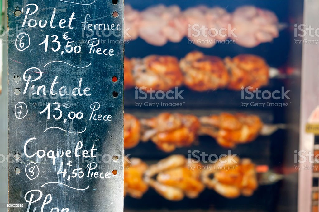 Roast Poultry at a French Market stock photo