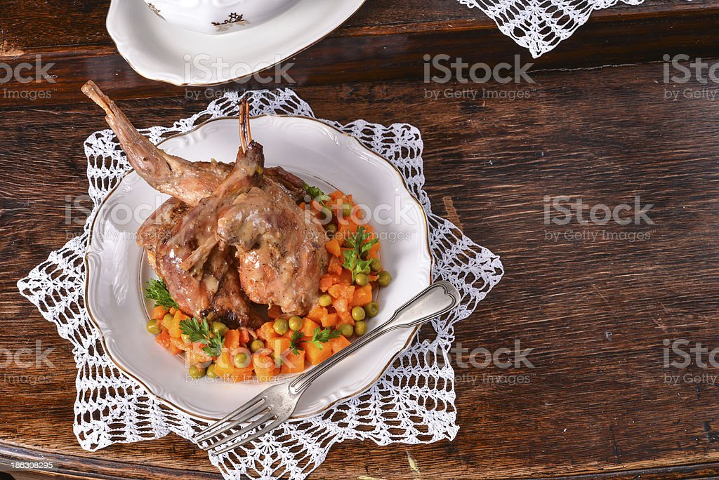 Roast rabbit royalty-free stock photo