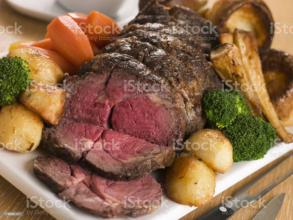 Roast Rib eye of British Beef with all the Trimmings stock photo