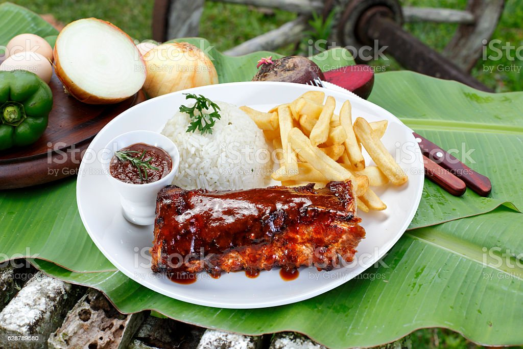 roast ribs with barbecue sauce stock photo