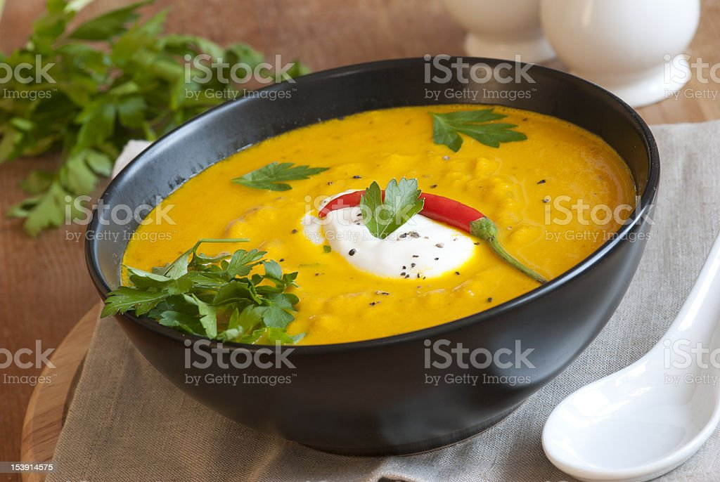Roast squash and chilli soup stock photo
