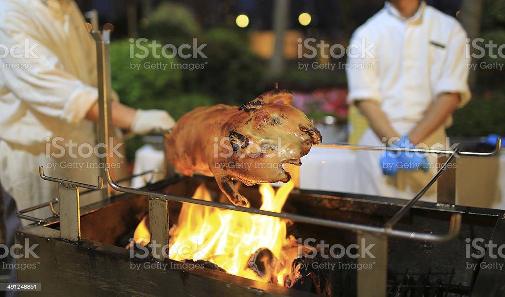 Roast suckling pig stock photo