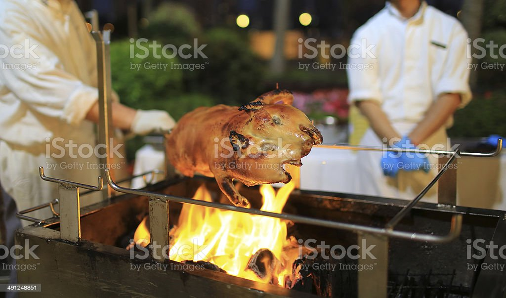 Roast suckling pig stock photo