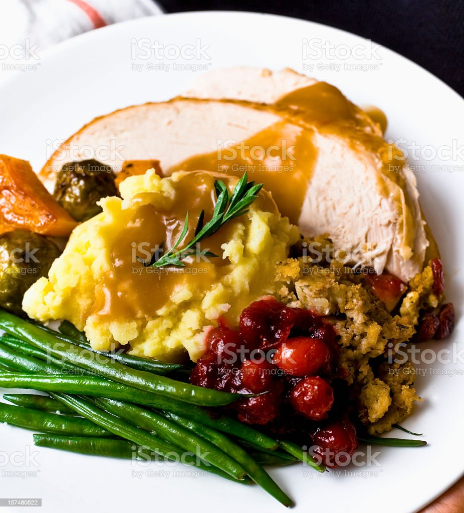 Roast Tukey dinner with all the trimmings royalty-free stock photo
