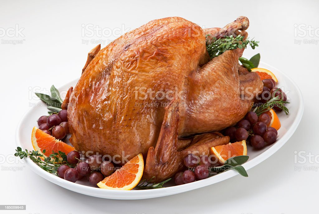 Roast Turkey and Trimmings on a Light Background. stock photo