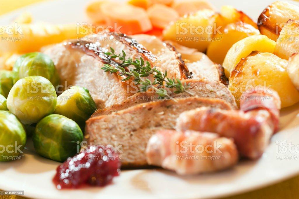 Roast Turkey Dinner Sunday Lunch or Christmas stock photo
