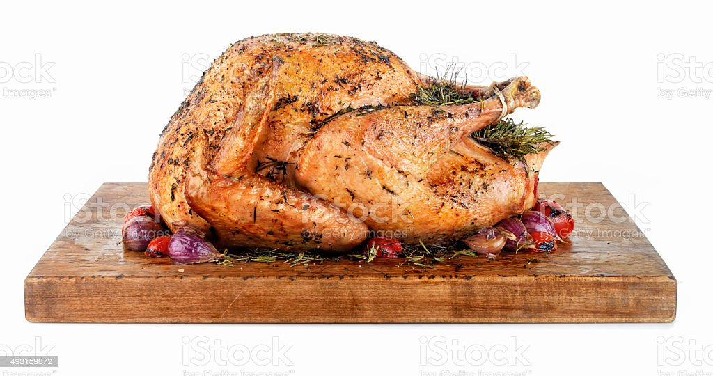 Roast Turkey on a Cutting Board stock photo