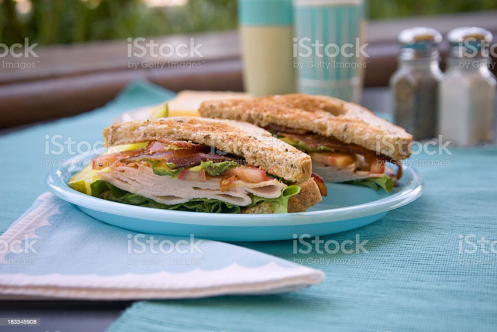 Roast Turkey or Chicken Bacon Lettuce & Tomato Toasted Sandwich Meal stock photo