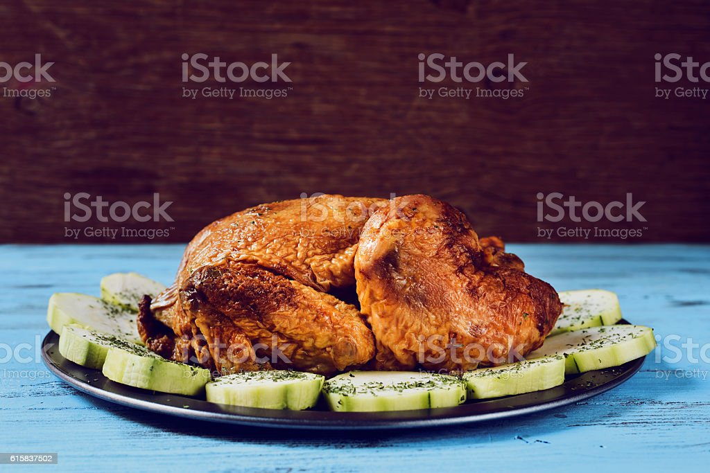 roast turkey with vegetables stock photo