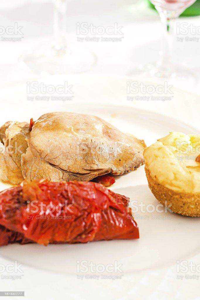 Roastbeef Slices with peppers and pie royalty-free stock photo