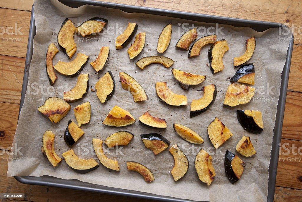 Roasted acorn squash stock photo