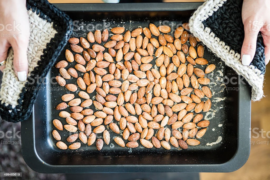 Roasted Almonds In Pan royalty-free stock photo