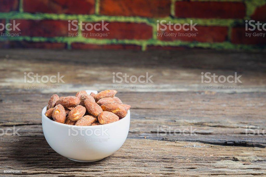 Roasted almonds stock photo