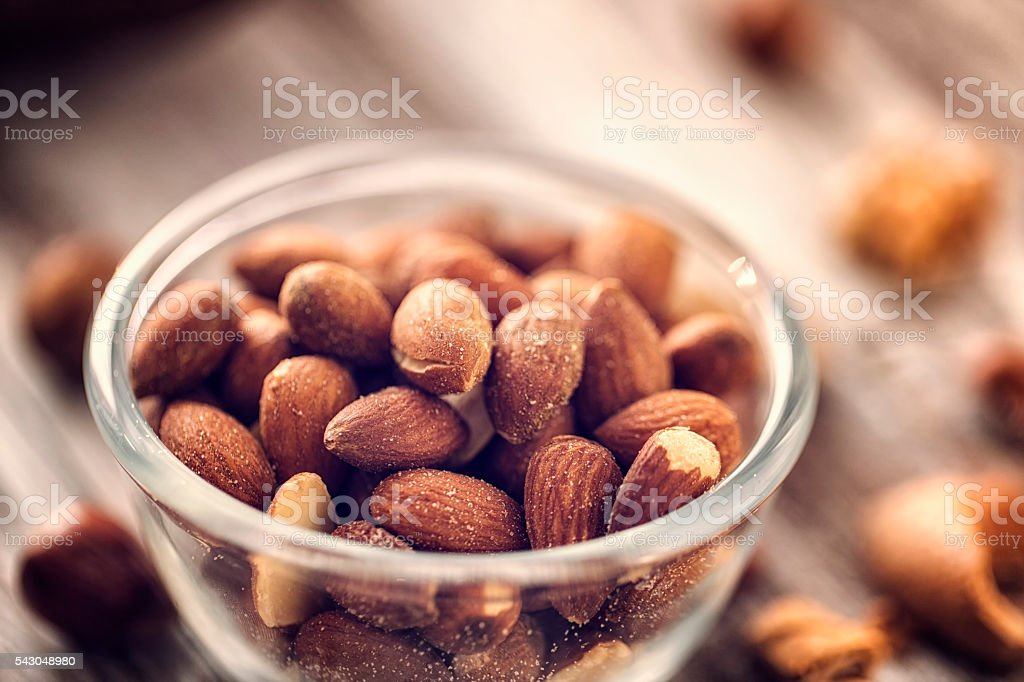 Roasted Almonds Served in a Bowl stock photo