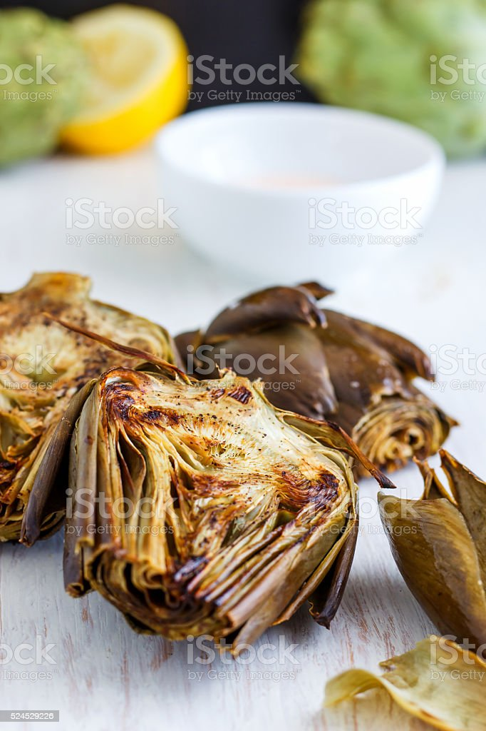 Roasted Artichokes stock photo
