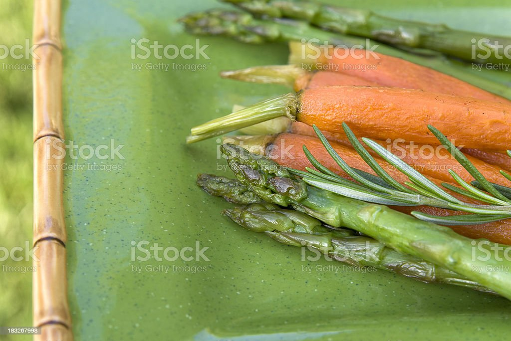 Roasted Asparagus & Carrots with Fresh Rosemary, Healthy Spring Vegetables stock photo