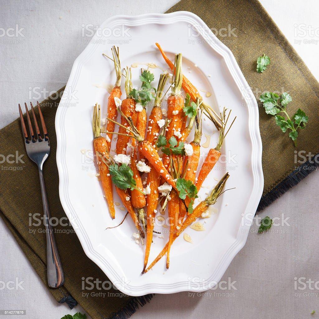 roasted baby carrots salad stock photo