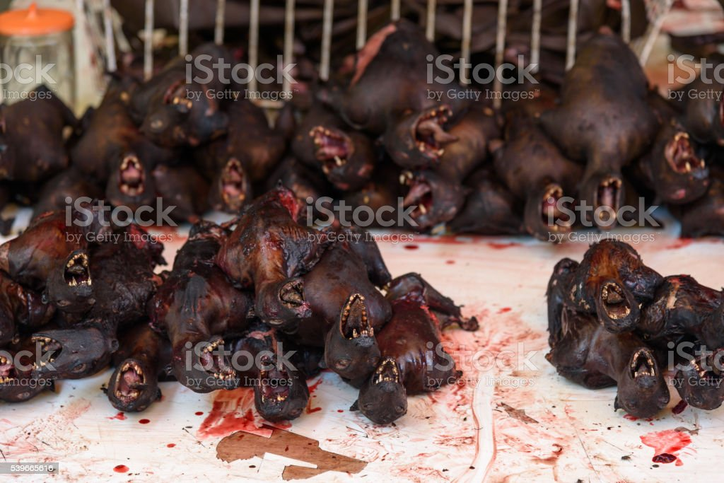 Roasted bats on Tomohon Traditional Market stock photo