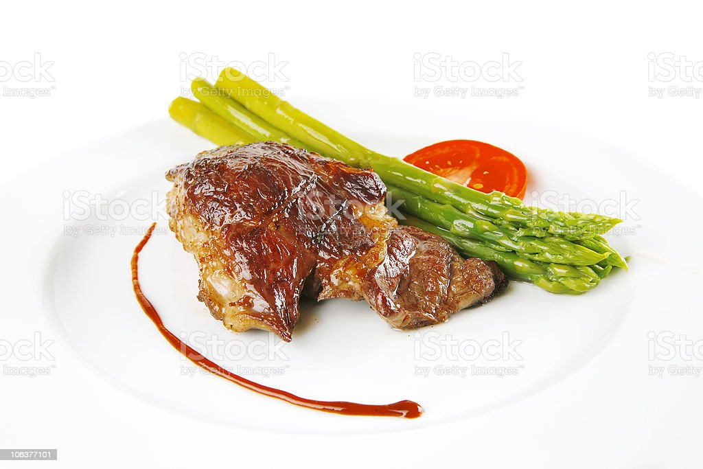 roasted beef served on white royalty-free stock photo