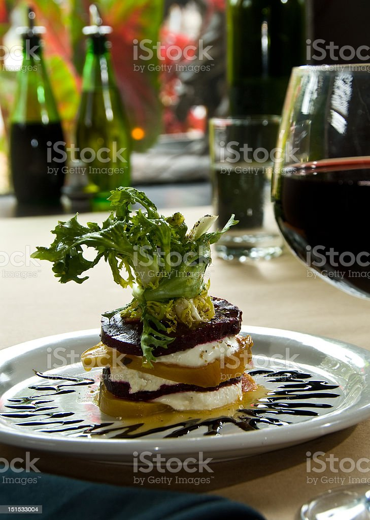 Roasted beets with burrata royalty-free stock photo