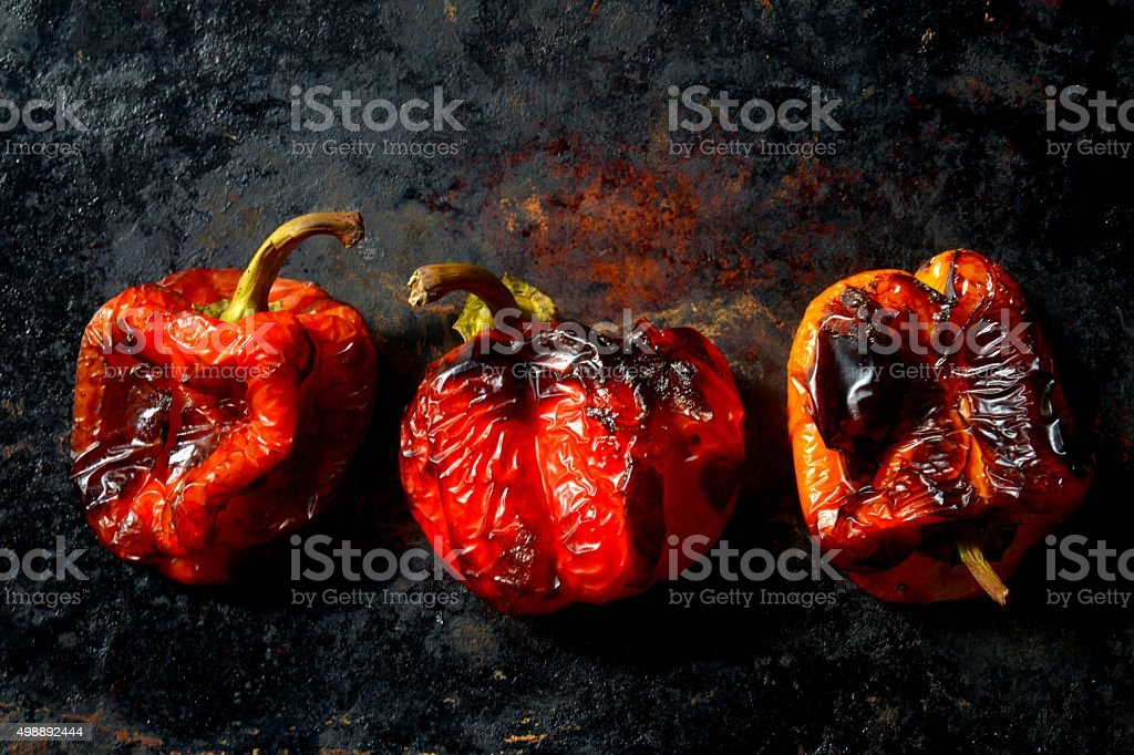 Roasted bell peppers stock photo