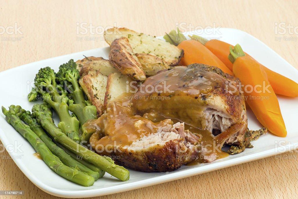 Roasted belly pork dinner royalty-free stock photo