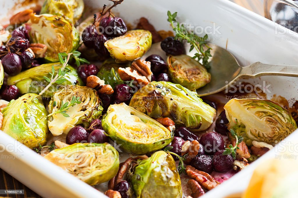 Roasted Brussel sprouts cut in half stock photo