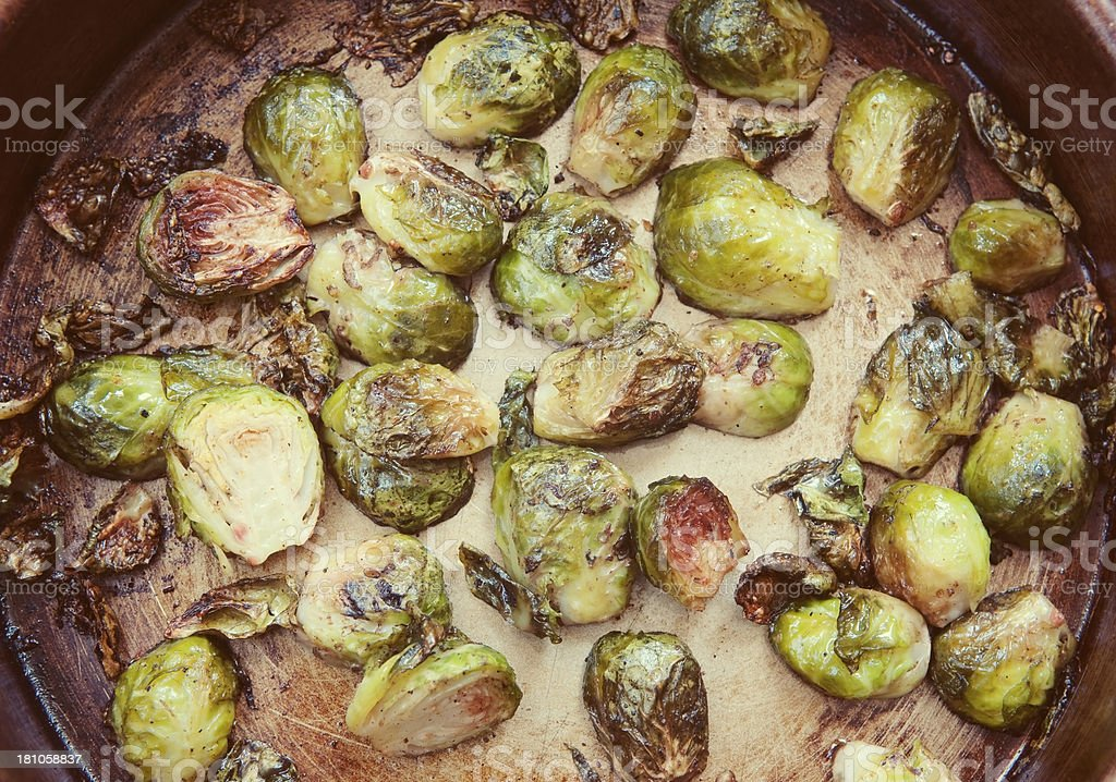 Roasted brussels sprouts stock photo