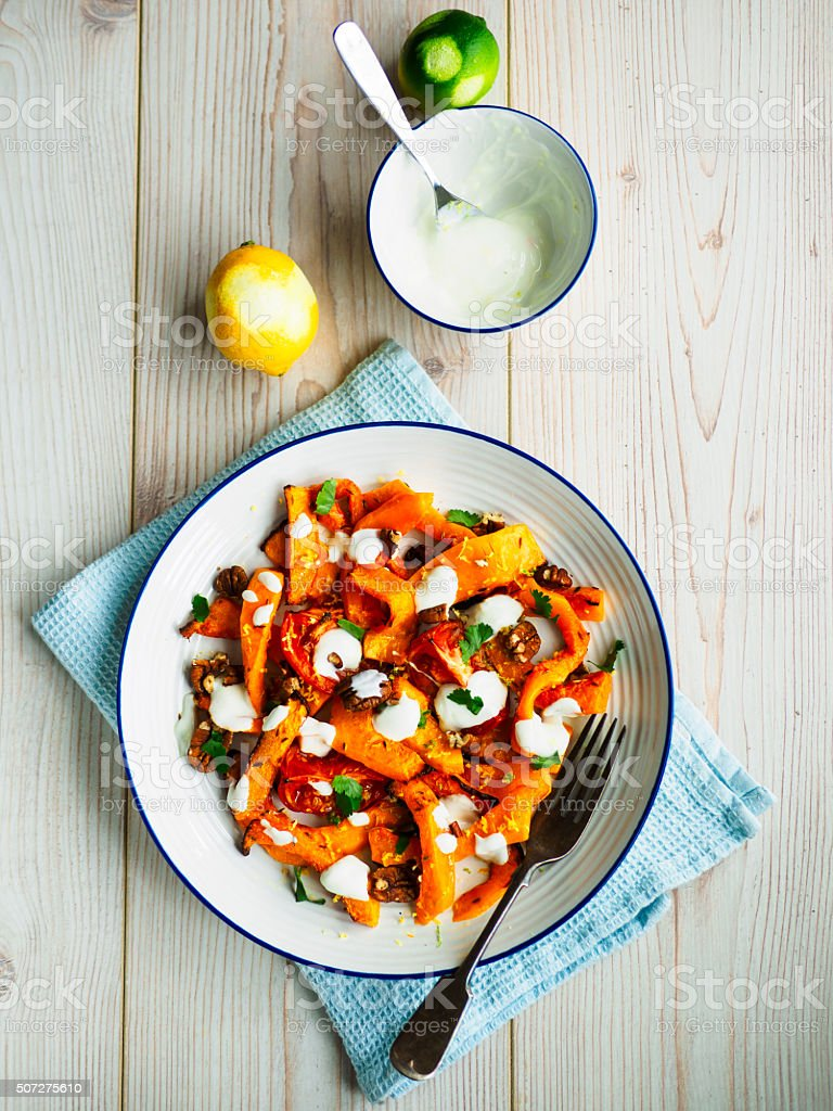 Roasted butternut squash salad stock photo