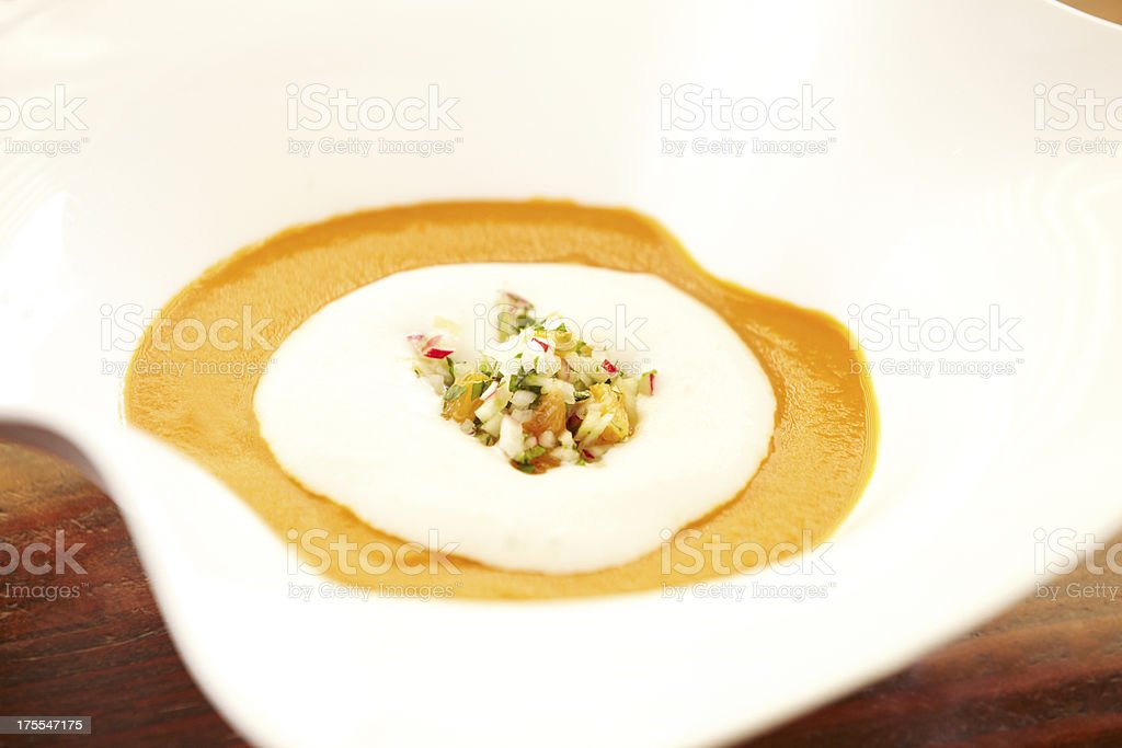 Roasted butternut squash soup with relish royalty-free stock photo