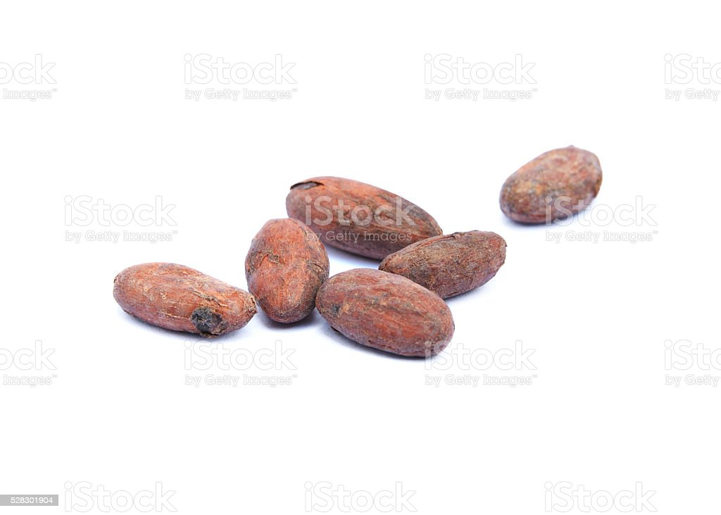 Roasted cacao beans stock photo