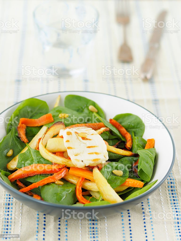 Roasted carrot and parsnip salad stock photo