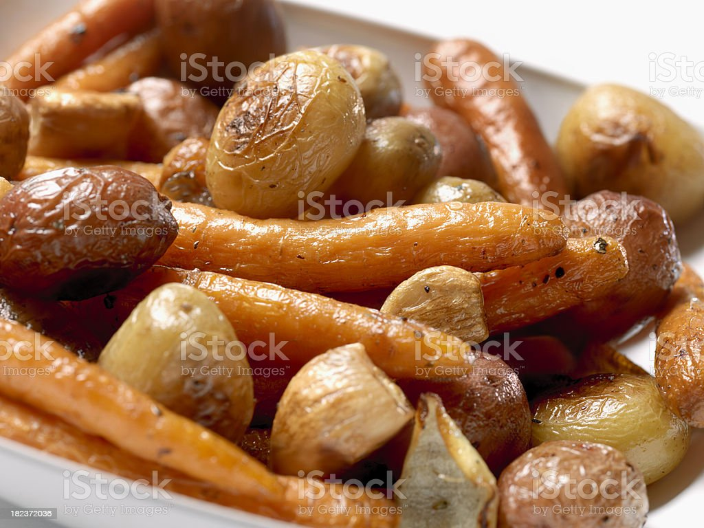 Roasted Carrots and Potatoes royalty-free stock photo