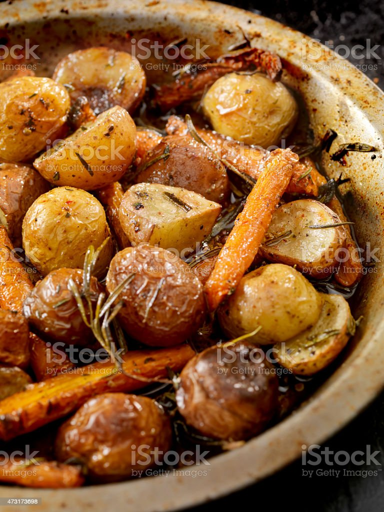 Roasted Carrots and Potatoes stock photo
