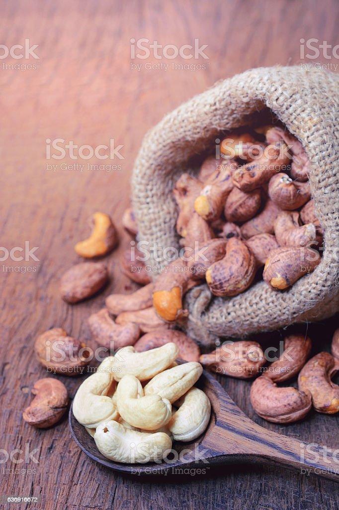 roasted cashew nuts stock photo