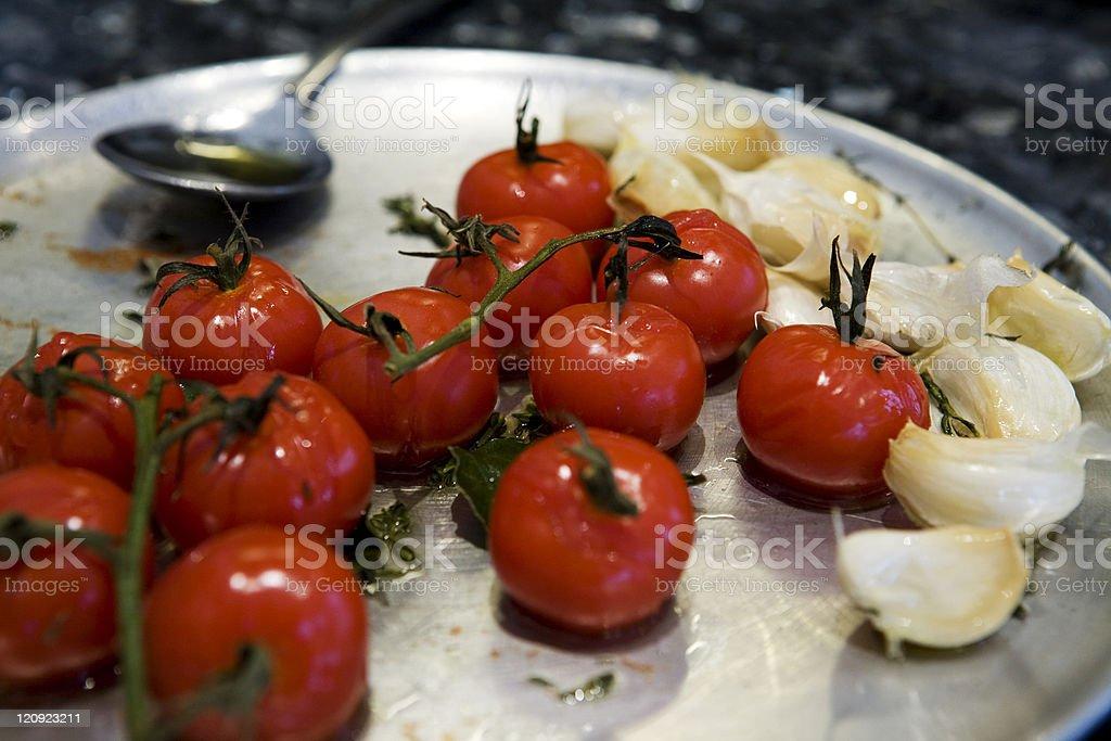 Roasted cherry tomatoes stock photo