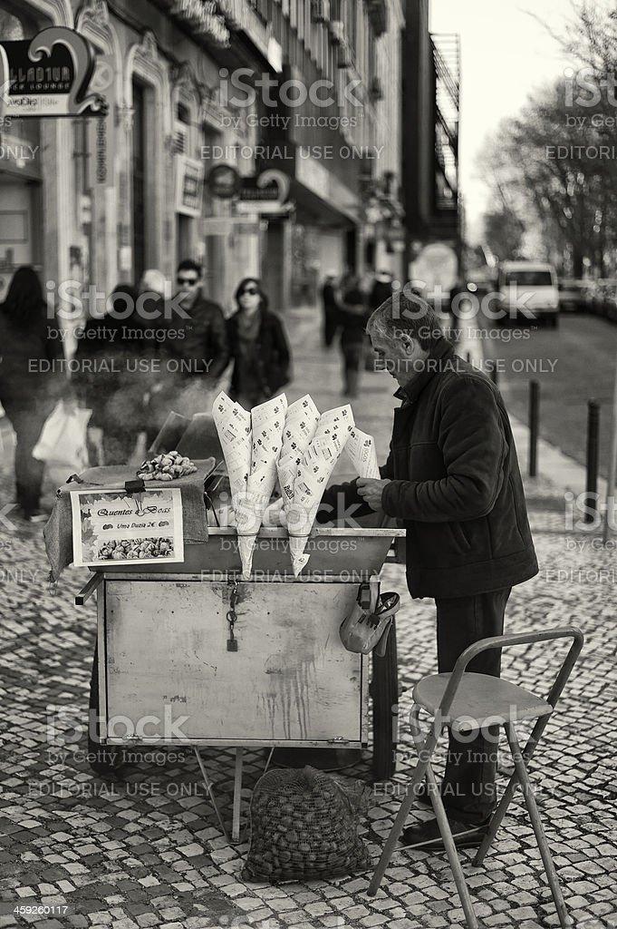 Roasted Chestnut Seller in Lisbon royalty-free stock photo