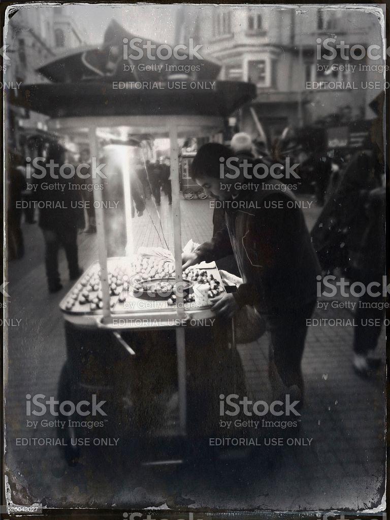 Roasted Chestnut Seller stock photo