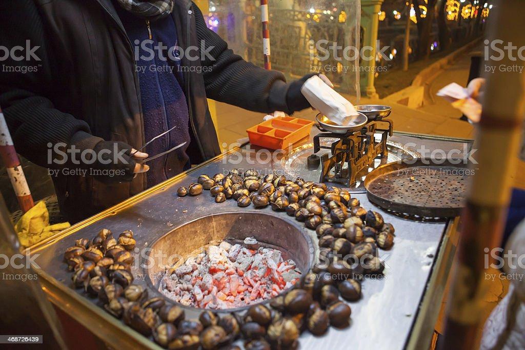 Roasted Chestnuts in Eskisehir street. royalty-free stock photo