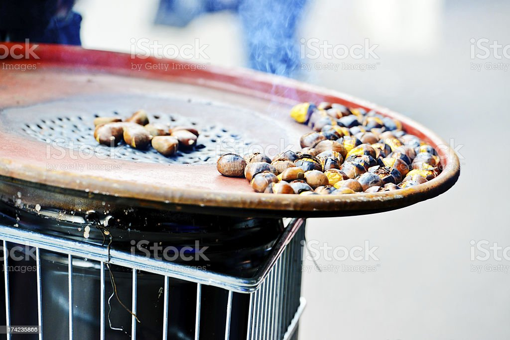 Roasted Chestnuts on Paris Street royalty-free stock photo