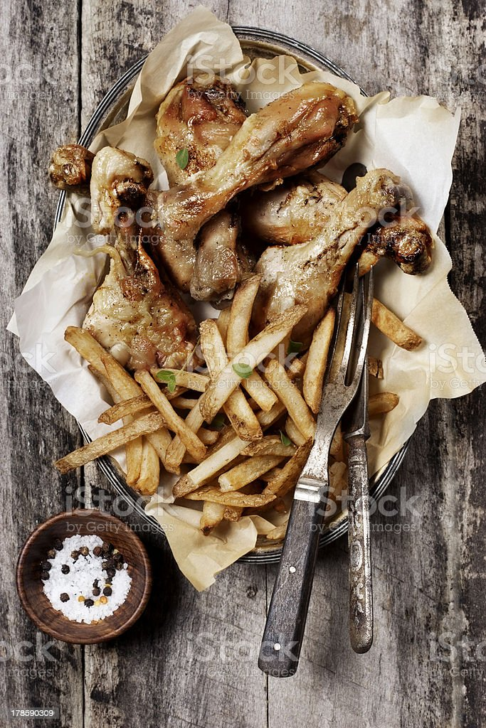 Roasted Chicken and French Fries royalty-free stock photo