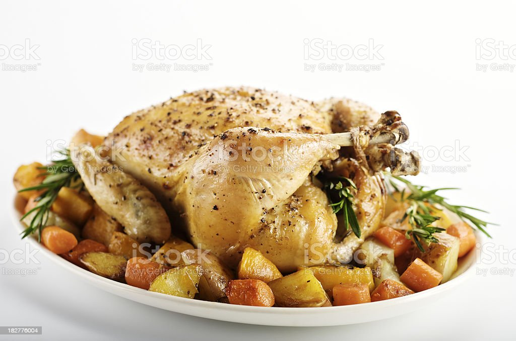 Roasted Chicken and Vegetables stock photo