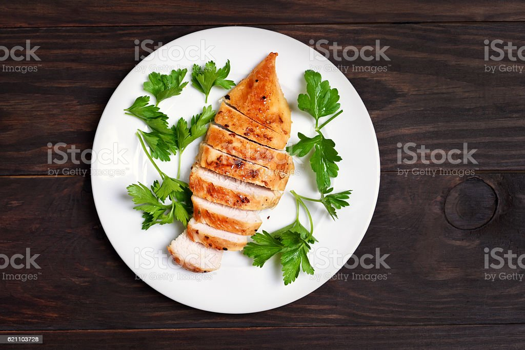 Roasted chicken breast stock photo